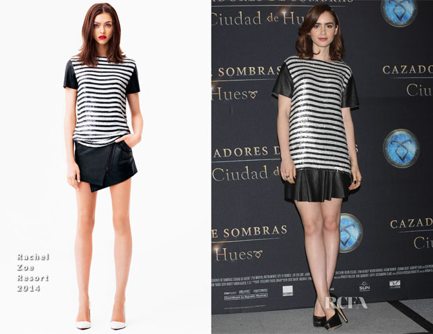 Lily Collins In Rachel Zoe - 'The Mortal Instruments City of Bones' Mexico City Photocall