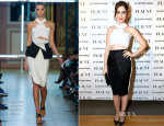 Lily Collins In Roland Mouret - Flaunt Magazine and G-Star Raw Pre-Release of 'The Dye' Issue Celebration