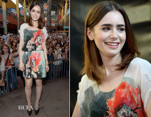 Lily Collins In Sachin + Babi - 'Mortal Instruments City of Bones' Dolphin Mall Meet & Greet
