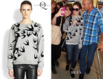 Lily Collins' McQ Alexander McQueen Bird-Flocked Sweatshirt