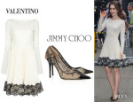 Lily Collins' Valentino Lace Hem Wool Dress And Jimmy Choo 'Amika' Lace Pumps