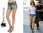 Maria Menounos' Black Orchid Black Star Cut Off Camo Shorts