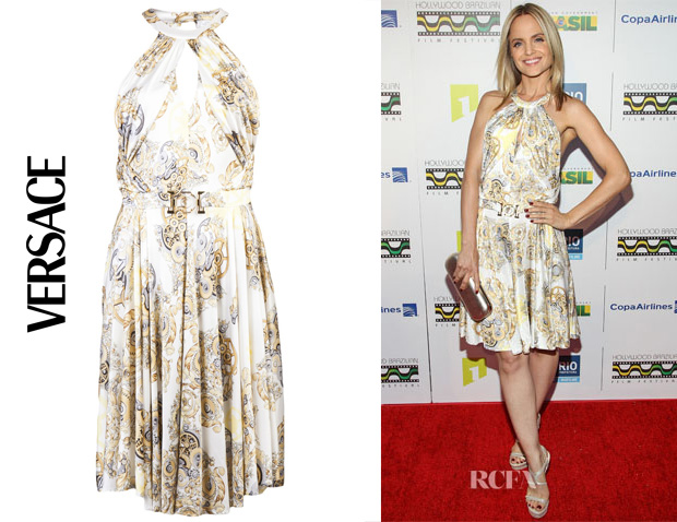 Mena Survari's Versace Collection Gear Print Dress