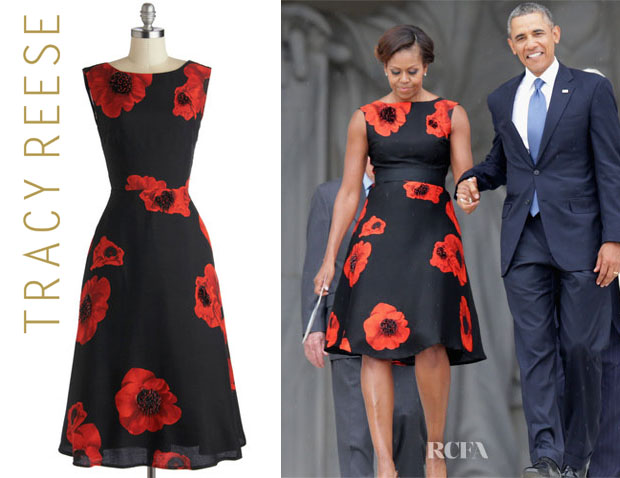 Michelle Obamau0027s Tracy Reese Sophisticated Ambiance Floral Dress