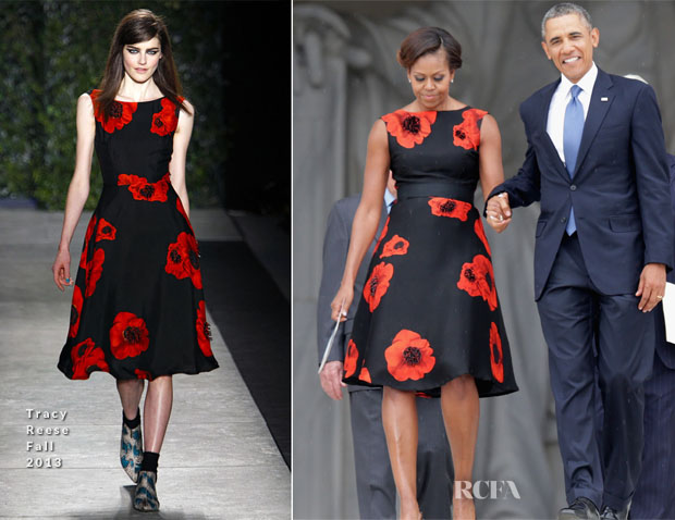 Michelle Obama In Tracy Reese - 'Let Freedom Ring' Ceremony