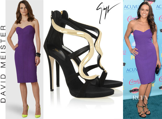 Michelle Rodriguez' David Meister Purple Strapless Dress & Giuseppe Zanotti 'Alien' Sandals