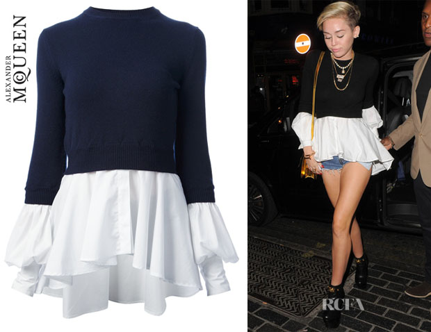 Miley Cyrus' Alexander McQueen Shirt Trimmed Sweater