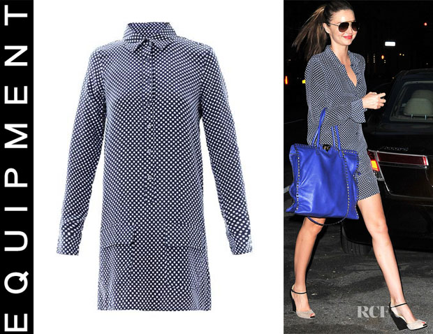 Miranda Kerr's Equipment Polka-dot silk dress