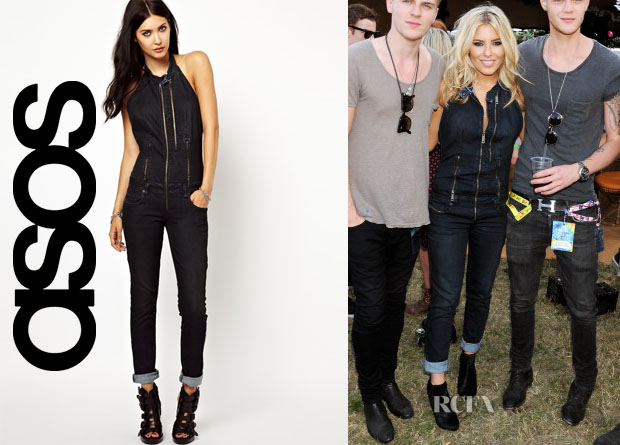 Mollie King's Diesel Denim Halter Jumpsuit
