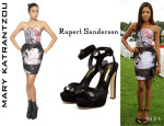 Naomie Harris' Mary Katrantzou Strapless Printed Dress And Rupert Sanderson 'Camail' Sandals