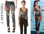 Nina Dobrev's J. Mendel Pleated Peplum Top and J. Mendel Slim Trousers