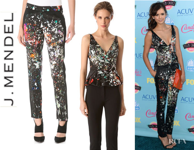 Nina Dobrev's J. Mendel Pleated Peplum Top and J. Mendel Slim Trousers1