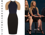 Nina Garcia's Victoria Beckham Crepe and Camel and Wool-Blend Dress