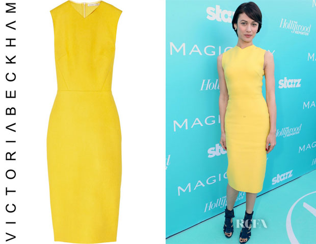 Olga Kurylenko's Victoria Beckham Wool-Blend Felt Sheath Dress