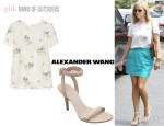 Reese Witherspoon's Band of Outsiders Floral-Print Top And Alexander Wang 'Antonia' Sandals