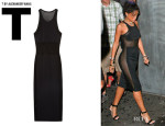 Rihanna's T by Alexander Wang Paneled Stretch Mesh Midi Dress