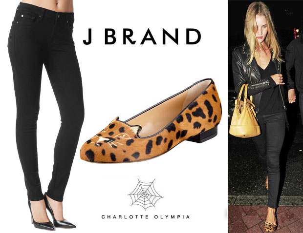 Rosie Huntington-Whiteley's 7 For All Mankind Second Skin Slim Illusion Skinny Jeans & Charlotte Olympia Leopard Kitty Flats