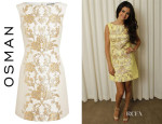 Selena Gomez' Osman Wool-Blend Brocade Pencil Dress