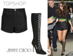 Selena Gomez' Topshop PU Quilted Shorts And Jimmy Choo 'Delta' Boots