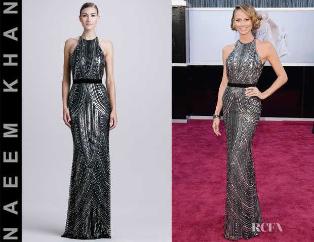 Stacy Keibler's Naeem Khan Sheer-Back Beaded Halter Gown