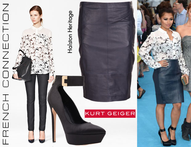 Vanessa White's French Connection Hatched Horses Classic Shirt, Halston Heritage Leather Skirt & Carvela Kurt Geiger 'GoGo' Pumps