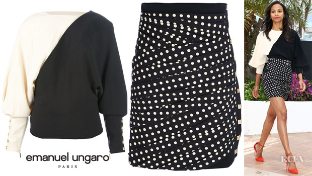 Zoe Saldana's Emanuel Ungaro Monochrome Sweater and Pleated Polka Dot Pencil Skirt