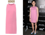 Zosia Mamet's Honor Heart Jewelled Wool-Crepe Shift Dress