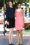 Michelle Dockery and Freida Pinto In Miu Miu - Miu Miu Women's Tales Talks Venice Film Festival Photocall