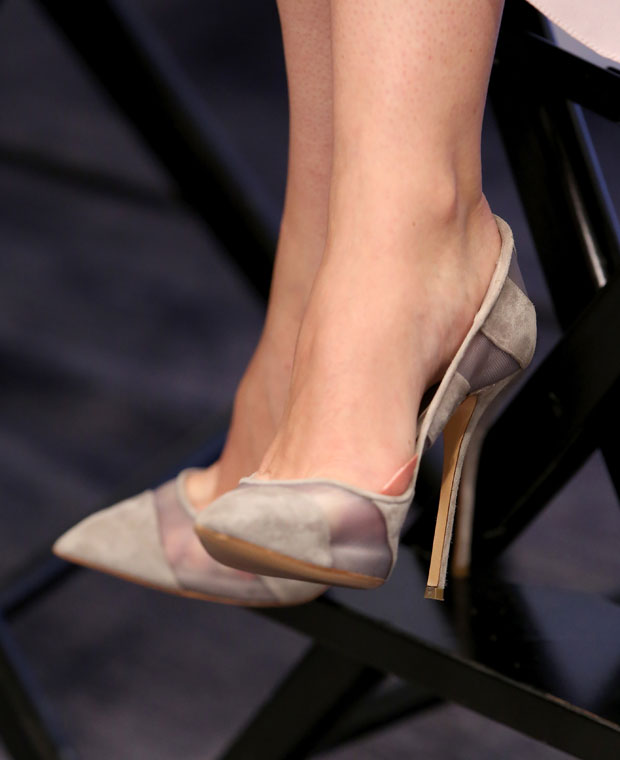 Felicity Jones' Casadei 'Rodio Steelix' pumps