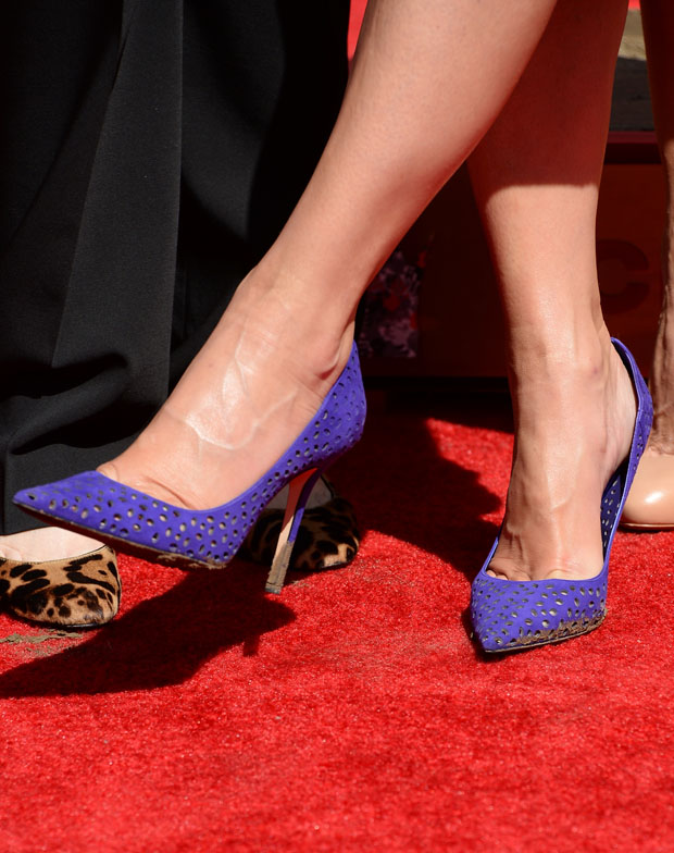 Sandra Bullock's Jimmy Choo 'Abel Viola' perforated suede pointy toe pumps