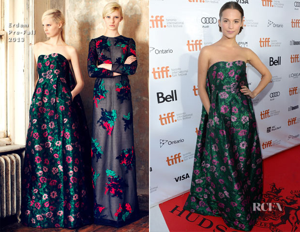 Alicia Vikander In Erdem - 'The Fifth Estate' Toronto Film Festival Premiere