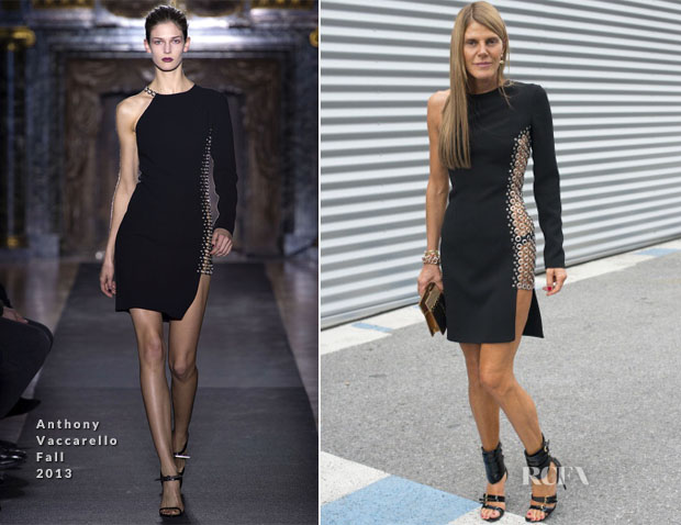 Anna Dello Russo In Anthony Vaccarello - Front Row @ Dries van Noten