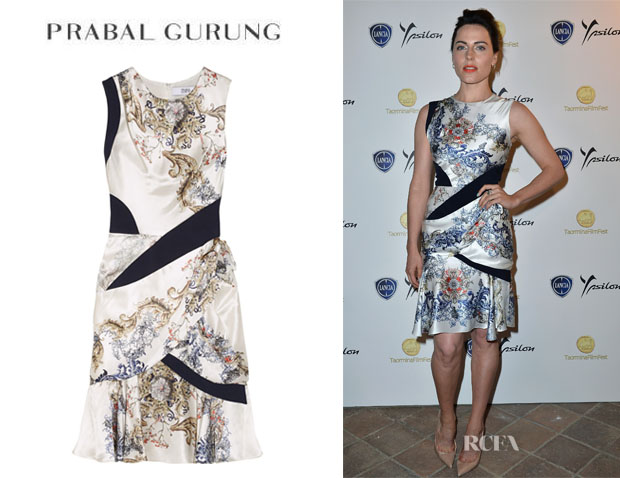 Antje Traue's Prabal Gurung Printed Silk-Satin Dress