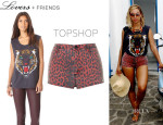 Beyonce Knowles' Lovers + Friends Muscle Tee And Topshop Leopard Print Hotpants