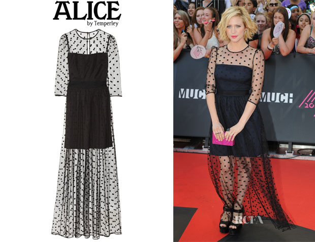 Brittany Snow's ALICE by Temperley 'Celia' Polka-Dot Tulle Maxi Dress