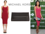 Chanel Iman's Michael Kors Jersey Dress And Michael Kors 'Taylor' Clutch