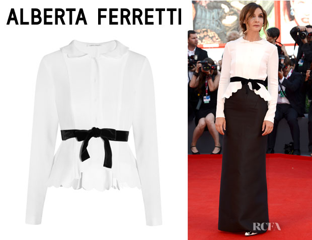 Clotilde Courau's Alberta Ferretti Scalloped Cady Jacket