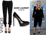 Demi Lovato's Vince Satin Jogging Pants And Saint Laurent 'Janis' Pumps