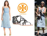 Dianna Agron' Tory Burch 'Evelin' Silk Sheath Dress And Tory Burch Sandals