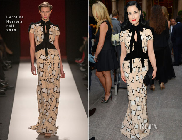 Dita von Teese In Carolina Herrera - Generation W Party and Vanity Fair's 'Celebration of the 2013 International Best Dressed List'