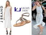 Emma Watson's J Brand 'Gwyneth' Dress And K. Jacques 'Papyrus' Sandals