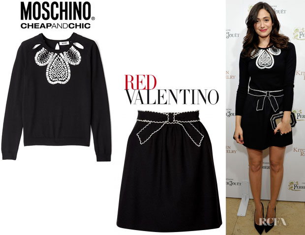 Emmy Rossum's Moschino Cheap Gem Embellished Jumper Chic And RED Valentino A-Line Skirt
