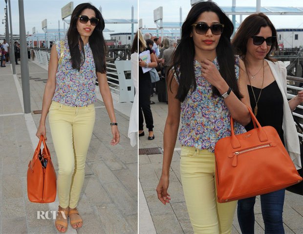 Freida Pinto In Zadig & Voltaire and Citizens of Humanity - Departing Venice Film Festival