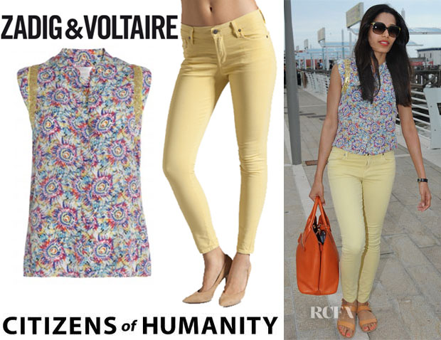 Freida Pinto's Zadig & Voltaire Texas Print Top And Citizens Of Humanity 'Thompson' Skinny Jeans