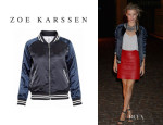 Georgia May Jagger's Zoe Karssen Silk Dinosaur Baseball Jacket