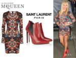 Hayden Panettiere's Alexander McQueen Stained Dress And Saint Laurent Leather Ankle Boots