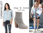 Hilary Duff's Current/Elliott Shirt And Rag & Bone 'Newbury' Boots