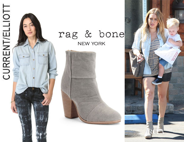 Hilary Duff's CurrentElliott Shirt And Rag & Bone 'Newbury' Boots