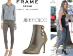 Hilary Duff's Frame Denim 'Le Luxe Noir' Skinny Jeans And Jimmy Choo 'Talma' Booties