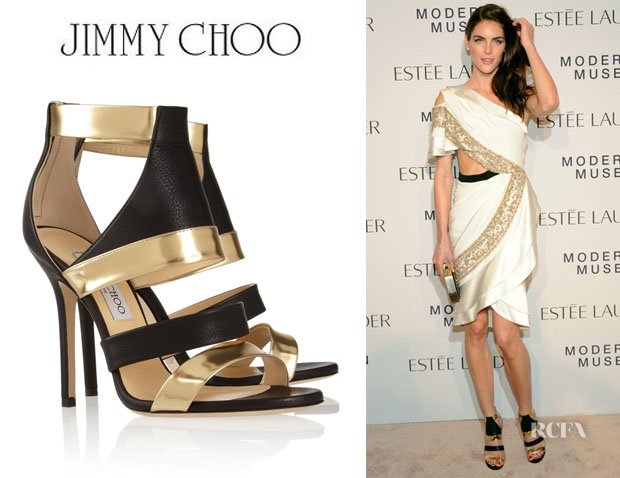 Hilary Rhoda's Jimmy Choo 'Besso' Textured And Mirrored Leather Sandals